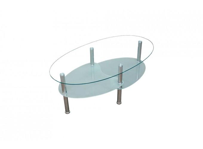 Журнальный стеклянный стол В01 Белый