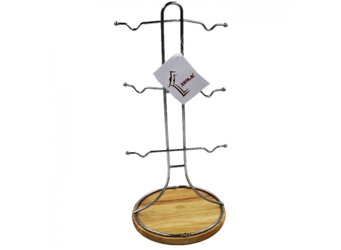 Подставка для кружек из стальной проволоки с хромовым покрытием CK6261 (6 кружек, деревянная основа)