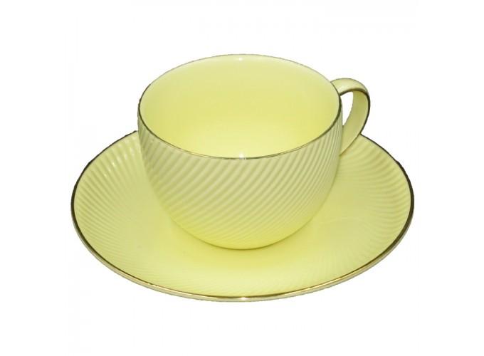 Чашка с блюдцем из фарфора ЖЛТ1540-4 (220 МЛ)