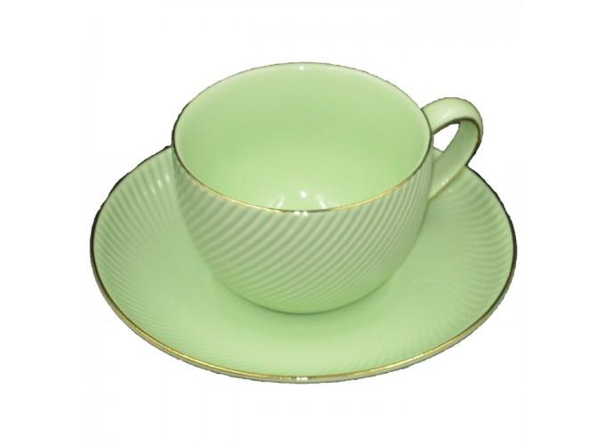 Чашка с блюдцем из фарфора ЗЕЛ1560-4 (220 МЛ)