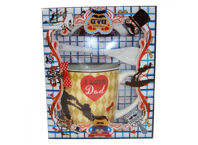 Набор подарочный(чашка,ложка,крышка) из фарфора Н107