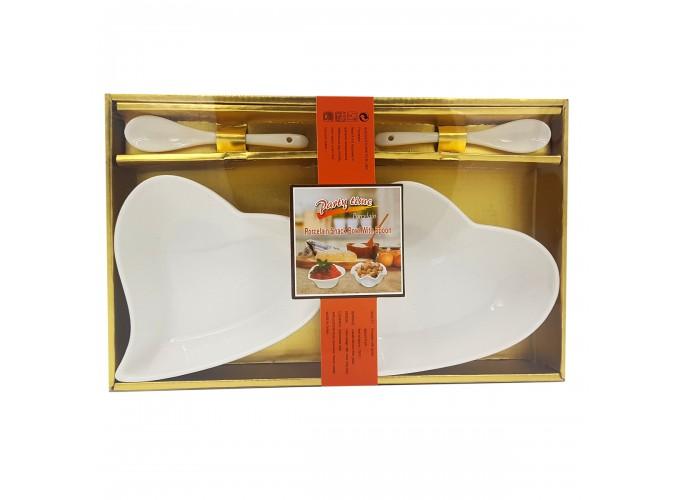 Набор подарочный (салатница 2шт, ложка 2шт) из фарфора XD-2283-2S