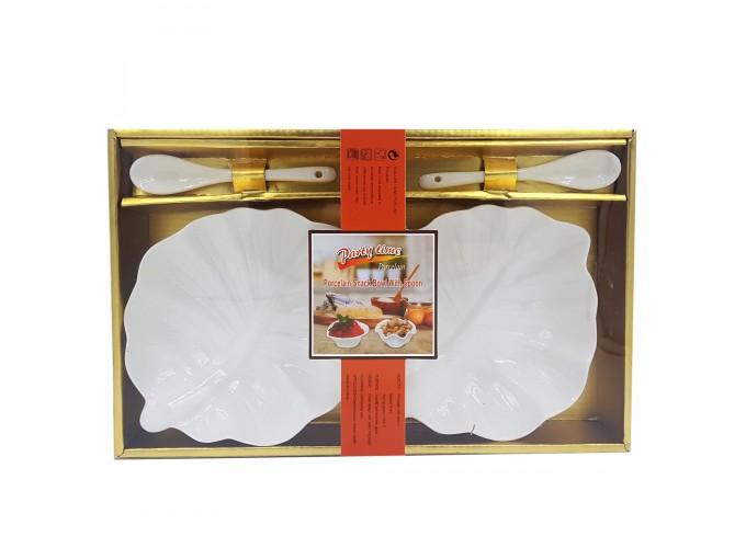 Набор подарочный (салатница 2шт, ложка 2шт) из фарфора XD-2020-2S