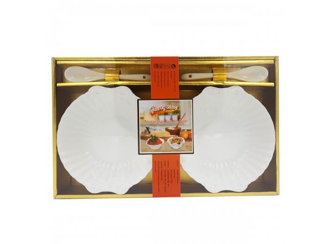 Набор подарочный (салатница 2шт, ложка 2шт) из фарфора XD-2012-2S