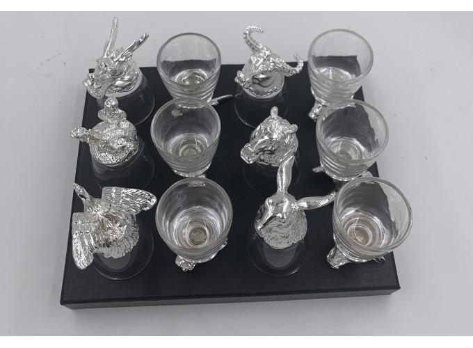 Подарочный набор стопок 12шт. из стекла  125X-серебро 1