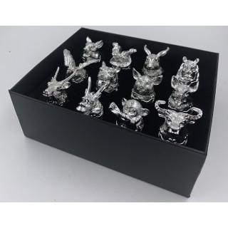 Подарочный набор стопок 12шт. из стекла  125X-серебро