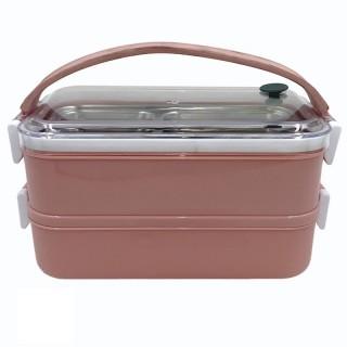 Контейнер для пищевых продуктов из коррозионностойкой стали. Арт.21-142 (2-х секционный; 21Х12Х14,3см)