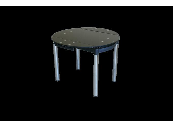 Круглый стеклянный раскладной стол на кухню 6069-2 Черный без цветов