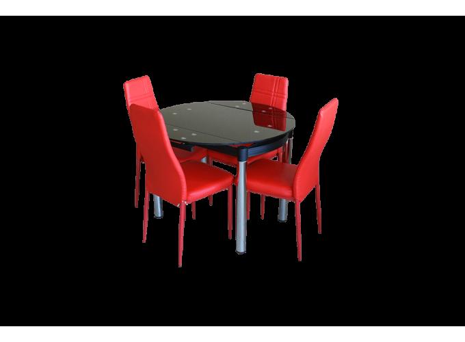 Круглый стеклянный раскладной стол на кухню 6069-2 Черный без цветов 0
