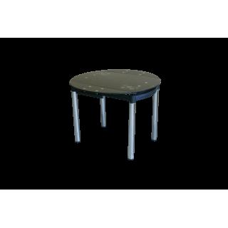 Круглый раздвижной стеклянный обеденный стол 6069-2 Черный с цветами