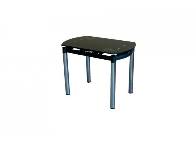 Круглый раздвижной стеклянный обеденный стол 6069-2 Черный с цветами 2