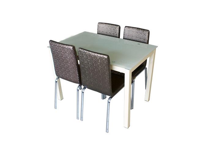 Стеклянный кухонный стол  А0121-117 Бежевый 2