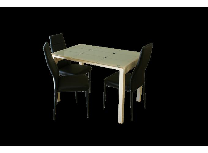 Стеклянный стол на кухню А105 Бежевый 1