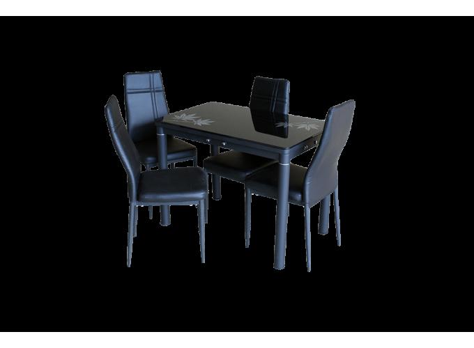 Стеклянный кухонный стол А59-106 Черный 3