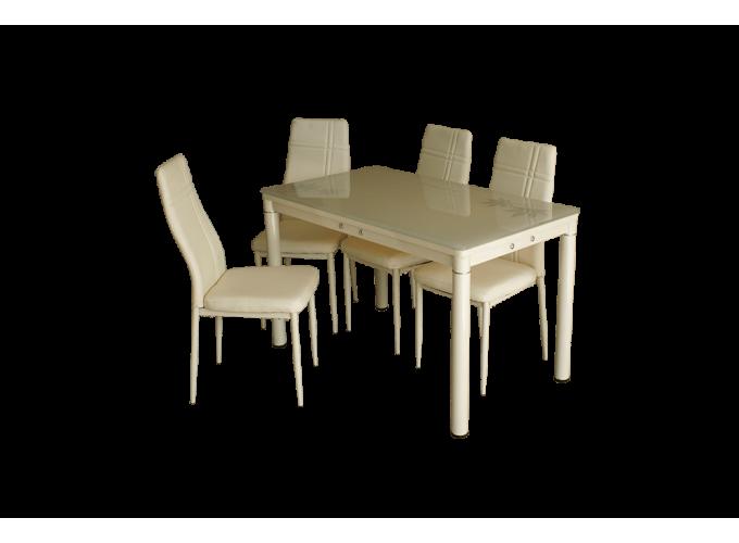 Стеклянный кухонный стол А59-127 Бежевый 1
