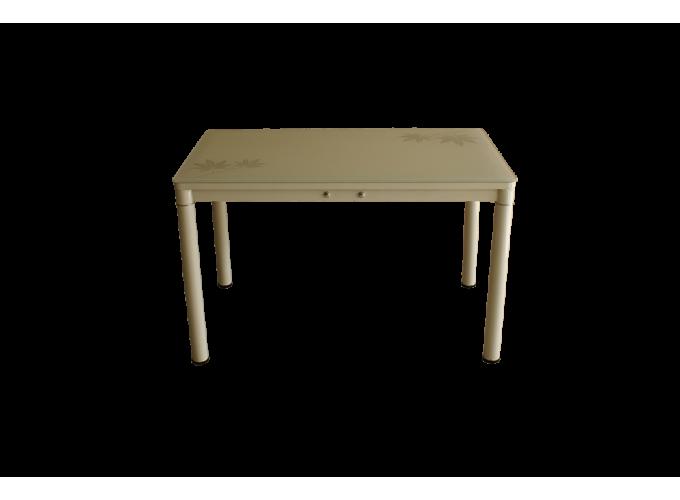 Стеклянный кухонный стол А59-127 Бежевый 0