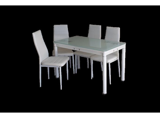 Стеклянный кухонный стол А59-127 Белый 1