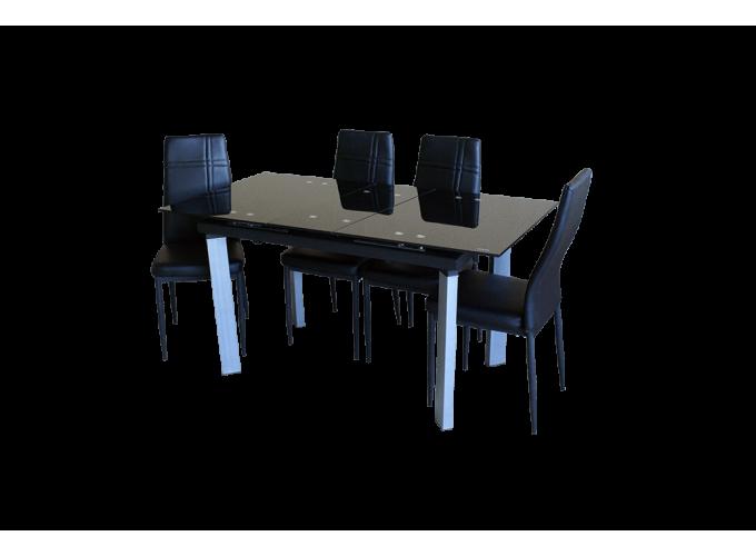 Стеклянный обеденный кухонный стол AD 32-1 Черный 1