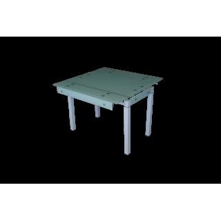 Стеклянный стол на кухню B-07В белый без цветов