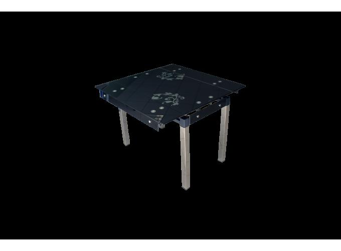 Стеклянный стол на кухню B-07 черный с цветами