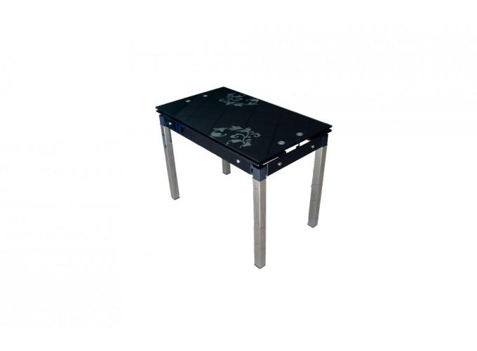 Стеклянный стол на кухню B-07 черный с цветами 1