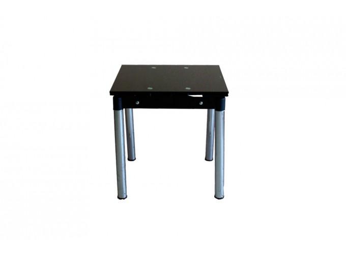 Стеклянный кухонный стол B-08-76 черный без цветов 2