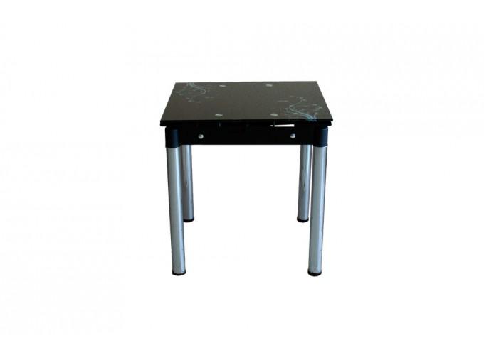 Стеклянный кухонный стол B-08-76 черный с цветами 0