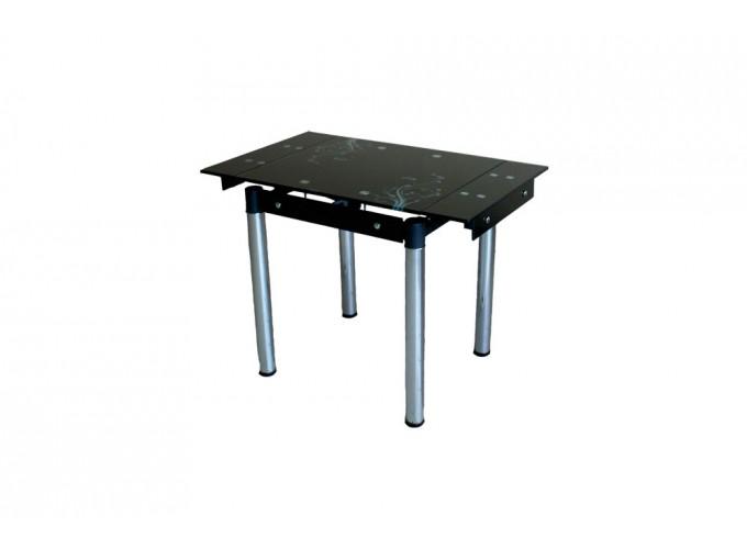 Стеклянный кухонный стол B-08-76 черный с цветами