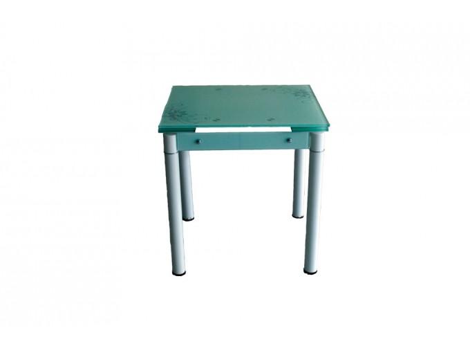 Стеклянный кухонный стол B-08-76В белый с цветами 2