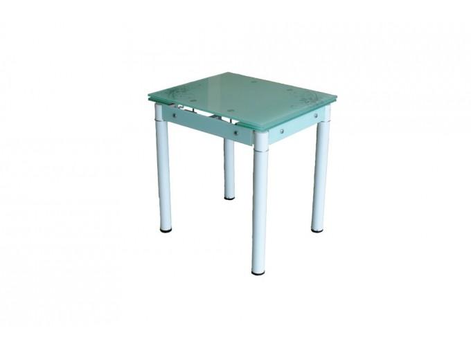 Стеклянный кухонный стол B-08-76В белый с цветами 1