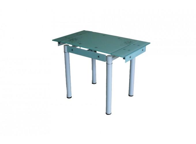 Стеклянный кухонный стол B-08-76В белый с цветами