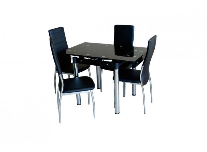 Стеклянный кухонный стол B08-77 черный без цветов 1