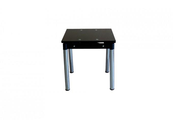 Стеклянный кухонный стол B08-77 черный без цветов 0