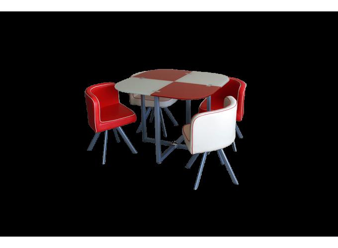 Комплект для кухни, стол+ 4 стула DT536 (красно-бежевый)  0