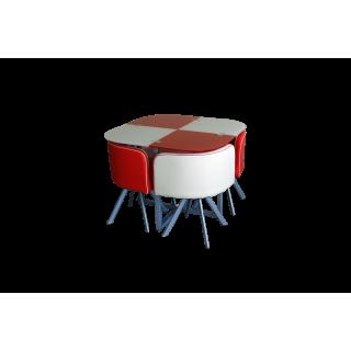 Комплект для кухни, стол+ 4 стула DT536 (красно-бежевый)