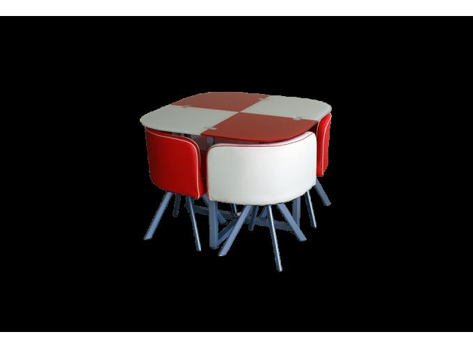 Комплект для кухни, стол+ 4 стула DT536 (красно-бежевый)  main