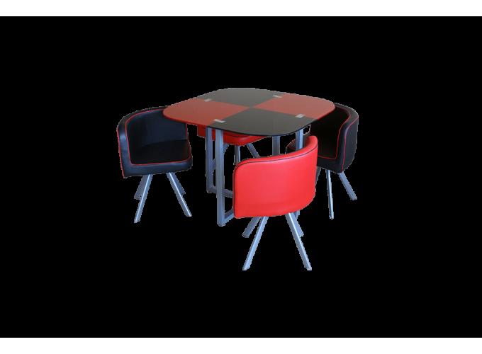 Комплект для кухни, стол+ 4 стула DT536 (красно-черный) 0