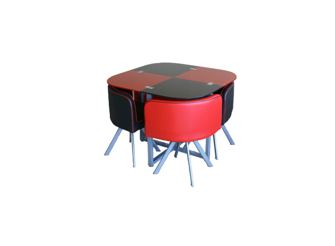 Комплект для кухни, стол+ 4 стула DT536 (красно-черный)
