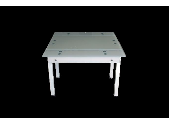 Стеклянный стол на кухню B-07В бежевый без цветов 1