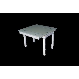 Стеклянный стол на кухню B-07В бежевый без цветов