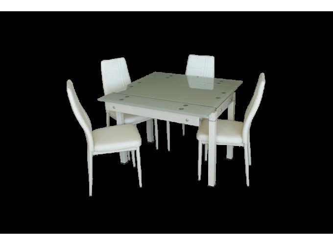 Стеклянный стол на кухню B-07В бежевый без цветов 0