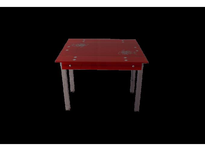 Стеклянный стол на кухню B-07 красный 1