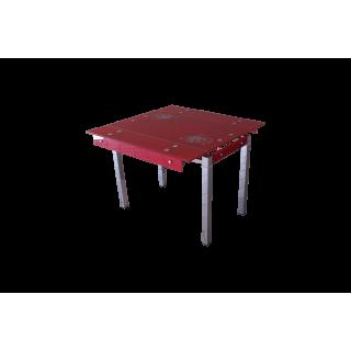 Стеклянный стол на кухню B-07 красный