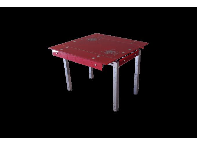 Стеклянный стол на кухню B-07 красный main