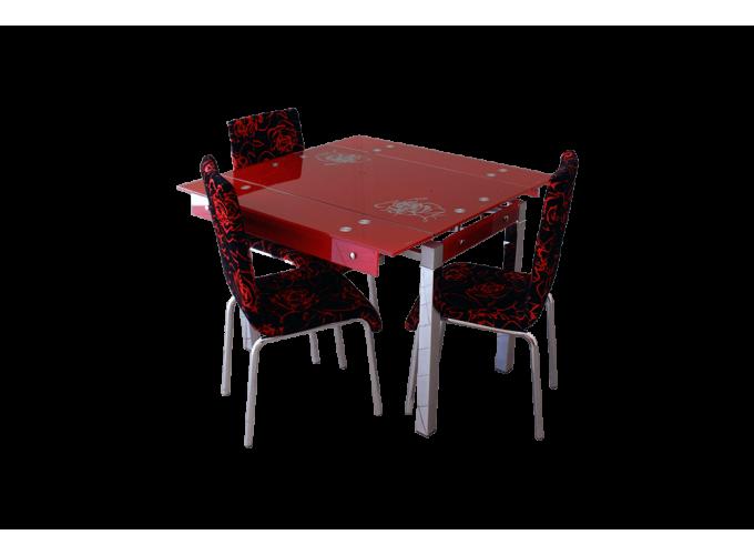 Стеклянный стол на кухню B-07 красный 0
