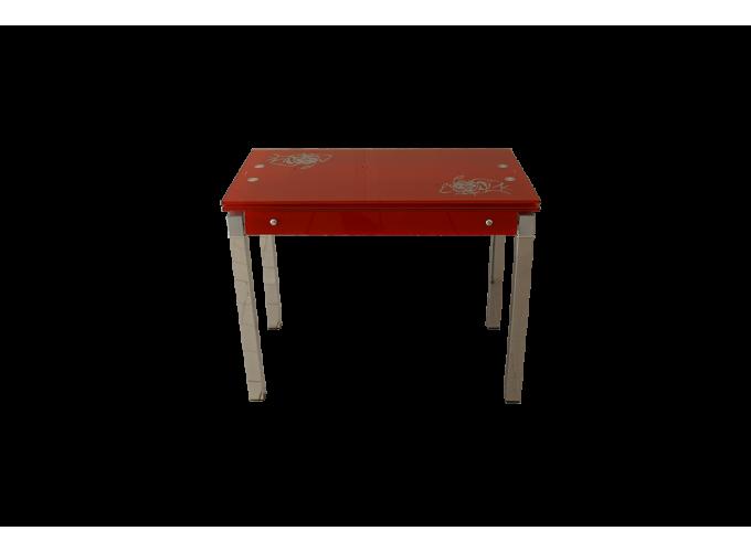 Стеклянный стол на кухню B-07 красный 2