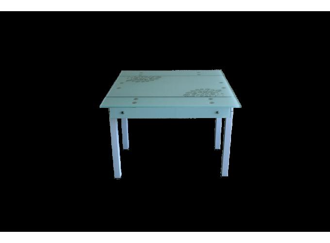 Стеклянный стол B-07В белый с цветами 0