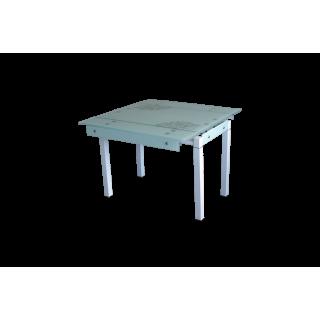 Стеклянный стол на кухню B-07В белый с цветами