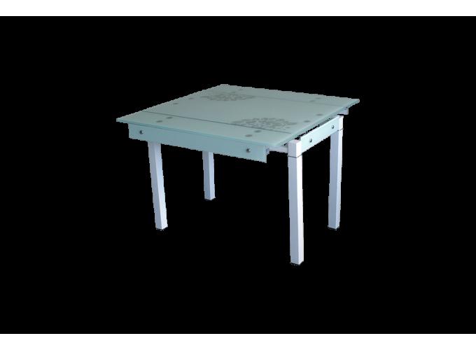 Стеклянный стол B-07В белый с цветами main
