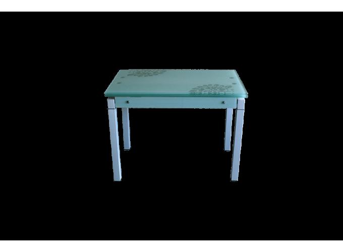 Стеклянный стол B-07В белый с цветами 2